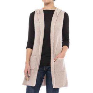 Tahari Hooded Open Front Cardigan  Sweater Vest